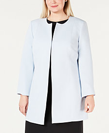 Kasper Plus Size Collarless Topper Jacket