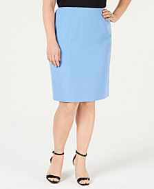Kasper Plus Size Double-Vent Skirt