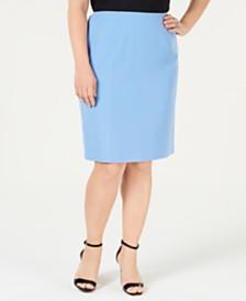 Kasper Plus Size Double-Vent Skirt