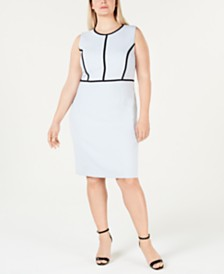 Kasper Plus Size Contrast-Piping Sheath Dress