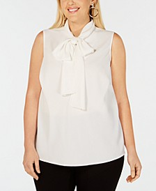 Trendy Plus Size Bow-Neck Blouse, Created for Macy's