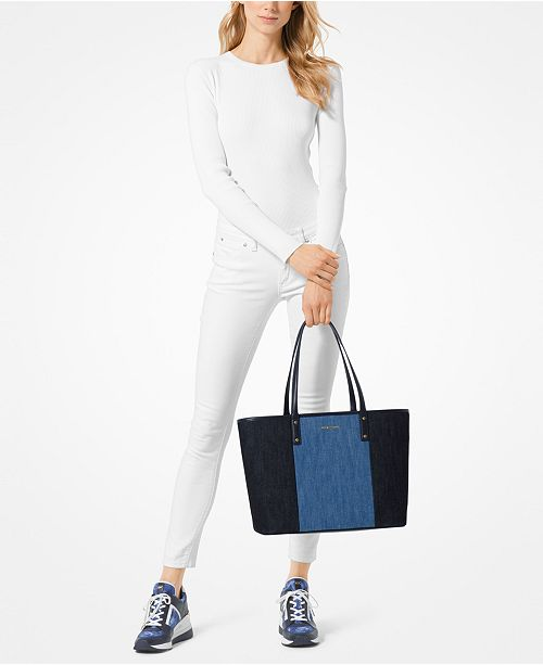3c7a76776c4d Michael Kors Carter Denim Open Tote, Created for Macy's & Reviews ...