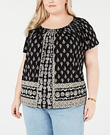 Plus Size Print Pleated-Neck Top, Created for Macy's