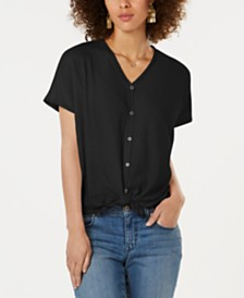 Style & Co Petite Tie-Hem Thermal Top, Created for Macy's