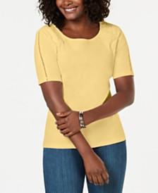 Karen Scott Cotton Lace-Appliqué T-Shirt, Created for Macy's