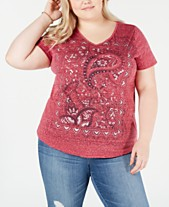 ef75bf90a16a5c Style   Co Plus Size Graphic-Print V-Neck Top