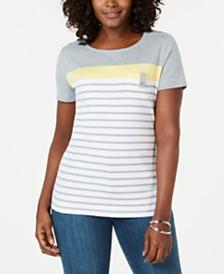 Karen Scott Multi-Stripe T-Shirt, Created for Macy's
