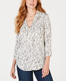 Charter Club Bird-Print V-Neck Top, Created for Macy's