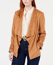 Bar III Faux-Suede Draped Flyaway Jacket, Created for Macy's