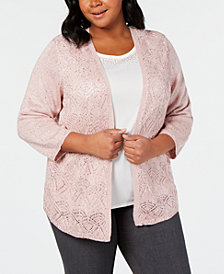 Alfred Dunner Home For The Holidays Plus Size Beaded Layered-Look Sweater