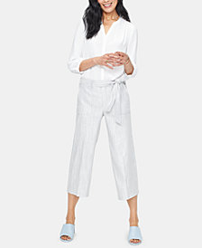 NYDJ Tummy-Control Striped Cropped Cargo Pants