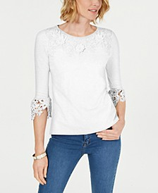 Petite Bell-Sleeve Embroidered Top, Created for Macy's