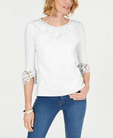 Charter Club Petite Bell-Sleeve Embroidered Top, Created for Macy's