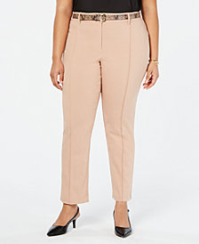 JM Collection Plus Size Belted Straight-Leg Pants, Created for Macy's