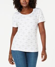 Karen Scott Petite Dragonfly-Print T-Shirt, Created for Macy's