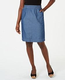 Karen Scott Cotton Chambray Pull-On Skirt, Created for Macy's