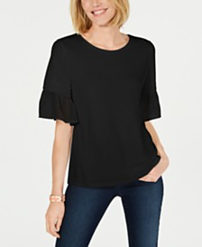Charter Club Ruffle-Sleeve Top, Created for Macy's