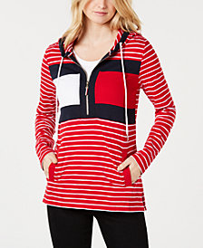 Tommy Hilfiger Cotton Striped Logo Hoodie, Created for Macy's