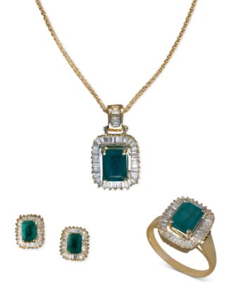 EFFY Jewelry Emerald and Diamond Jewelry Ensemble in 14k Gold