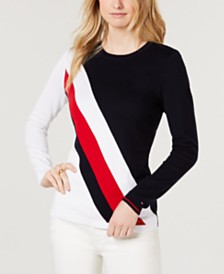 Tommy Hilfiger Diagonal Colorblocked Lucy Sweater, Created for Macy's