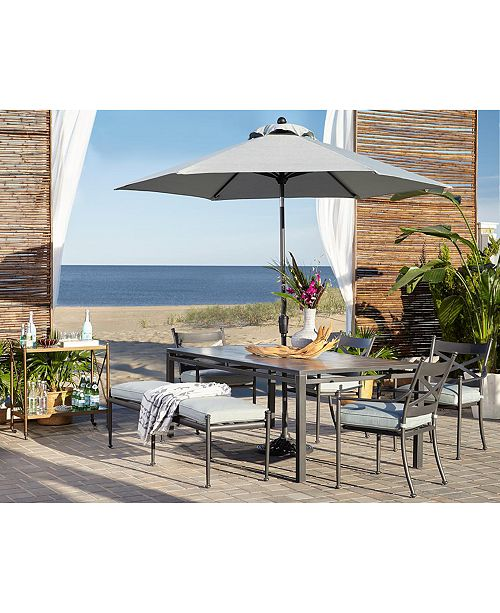 """Furniture Montclaire Outdoor Aluminum 6-Pc. Dining Set (84"""" X 42"""" Table, 4 Dining Chairs & 1 68"""" Bench) With Sunbrella® Cushions, Created For Macy's"""