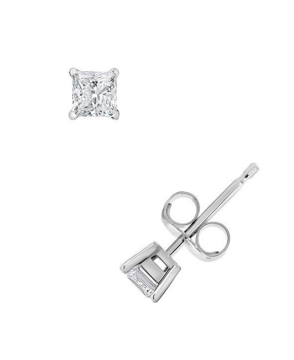 Macy's Certified Princess Cut Diamond Stud Earrings (1/2 ct. t.w.) in 14k White Gold or Yellow Gold