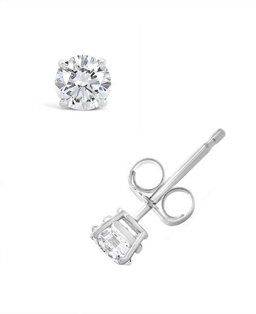 Macy's Certified Round Diamond Stud Earrings (1/2 ct. t.w.) in 14k White Gold or Yellow Gold