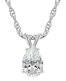 Certified Pear Shape Diamond Solitaire Pendant Necklace (1/2 ct. t.w.) in 14k White Gold or Yellow Gold