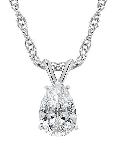 Macy's Certified Pear Shape Diamond Solitaire Pendant Necklace (1/2 ct. t.w.) in 14k White Gold or Yellow Gold