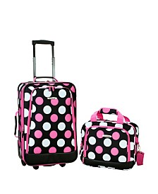Rockland 2PCE Pink Dots Softside Luggage Set