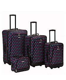 Rockland Fleur De Lis 4PCE Softside Luggage Set
