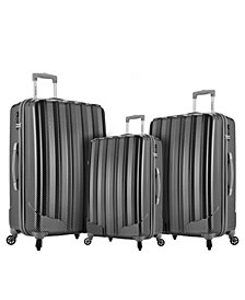 Rockland Barcelona 3 PC.  Polycarbonate/ABS Luggage Set with 6 PC. Travel Set & Luggage Cover
