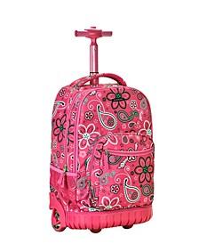 "Pink Floral 19"" Rolling Backpack"