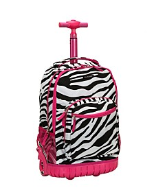"Rockland Zebra 19"" Rolling Backpack"