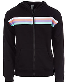 Ideology Big Girls Striped Zip-Up Hoodie, Created for Macy's