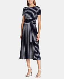 Lauren Ralph Lauren Belted Striped Dress