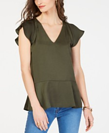 MICHAEL Michael Kors Flounce-Sleeve Top, in Regular & Petite Sizes