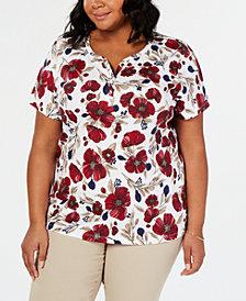 Karen Scott Plus Size Floral-Print Henley Top, Created for Macy's