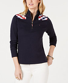 Tommy Hilfiger Plaid-Yoke Mock-Neck Pullover
