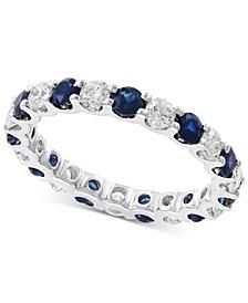 EFFY® Sapphire (1-1/4 ct. t.w.) & Diamond (1 ct. t.w.) Band in 14k White Gold