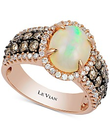Le Vian® Neopolitan Opal (1-1/3 ct. t.w.), Vanilla & Chocolate Diamond (1-1/5 ct. t.w.) Ring  in 14k Rose Gold