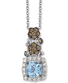 Sea Blue Aquamarine (1/2 ct. t.w.), Chocolate Diamond (1/3 ct. t.w.) and Vanilla Diamond (1/10 ct. t.w.) Pendant Necklace in 14k White Gold