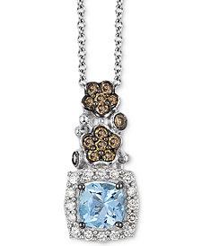 Le Vian® Sea Blue Aquamarine (1/2 ct. t.w.), Chocolate Diamond (1/3 ct. t.w.) and Vanilla Diamond (1/10 ct. t.w.) Pendant Necklace in 14k White Gold