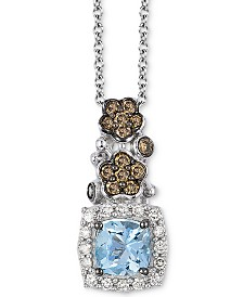Le Vian® Sea Blue Aquamarine (1/2 ct. t.w.), Chocolate Diamond (1/3 ct. t.w.) and Vanilla Diamond (1/10 ct. t.w.) Pendant Necklace in 14k White Gold