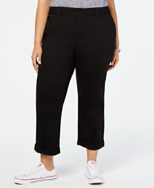 Dickies Trendy Plus Size Rolled-Hem Cropped Pants