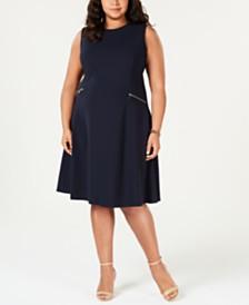 Tommy Hilfiger Plus Size Zip-Pocket A-Line Dress