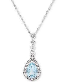"Aquamarine (5/8 ct. t.w.) & Diamond Accent 18"" Pendant Necklace in 14k White Gold"