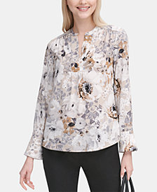 Calvin Klein Long-Sleeve Floral V-Neck Blouse
