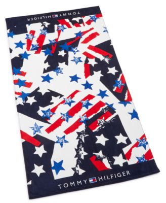 """Flags And Stars Cotton 35"""" x 66"""" Beach Towel"""