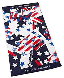 "Tommy Hilfiger Flags And Stars Cotton 35"" x 66"" Beach Towel"